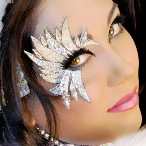 Makeup Angel Costume (Angel Costume Temporary Eye Art SilverWing Xotic Eyes Rhinestone Costume MakeUp)