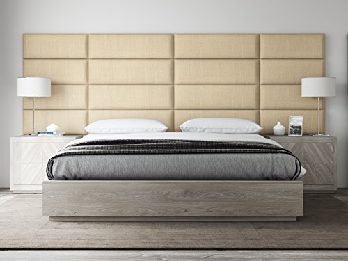 VANT Upholstered Headboards - Accent Wall Panels - Packs Of 4 - Textured Cotton Weave Toasted Wheat - 39