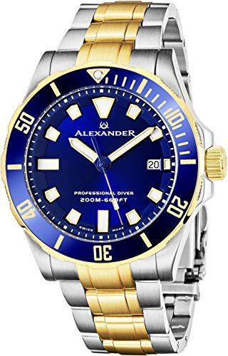 Stainless Steel Sapphire Crystal - Alexander Professional Diver Watch Mens Blue Face Sapphire Crystal 200M Waterproof - Swiss Made Analog Quartz Dive Watch for Men Scuba Diving Rotating Bezel Stainless Steel Yellow Gold Tone Metal Band