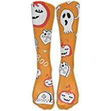 Cute Spooky Ghost Pumpkin Halloween Decor Long Dress Socks Cotton Sport Comfortable Breathable Over-the-Calf Tube