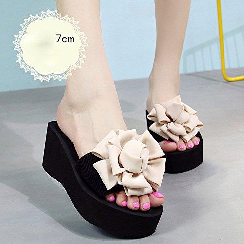 Chanclas MEIDUO sandalias 7cm -multi-color tacones altos Zapatillas femeninas del verano Zapatos de tacón alto de la playa Forme las sandalias para 18-40 años cómodo Beige-7cm