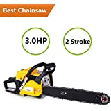 "ncient 20"" 52CC 2 Strokes 3.0HP Gas Powered ChainSaw 2 Stroke Petrol Chain Saw Cutting Wood Tool Kit (52CC-Yellow)"