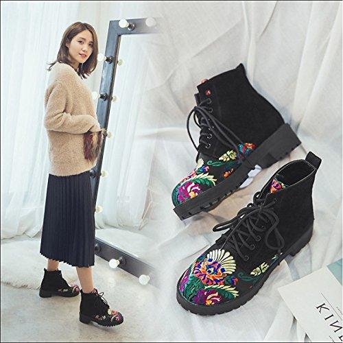 Invierno Black botas de Materiales personalizados Toe Zapatos talón satinado Mid bajas Novedad Calf Toe Otoño de ronda moda Confort cerrado HSXZ mujer botas botas 4pS0wW