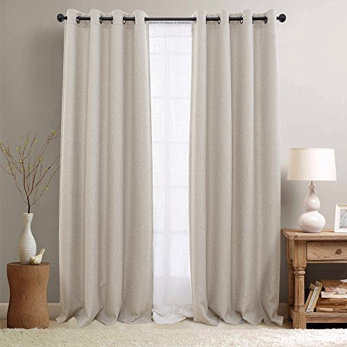 Lazzzy Linen Fabric Curtains Room Darkening Window Treatment Set for Bedroom 95 inches Long Thermal Insulated Moderate Blackout Curtain Greyish Beige 1 Pair