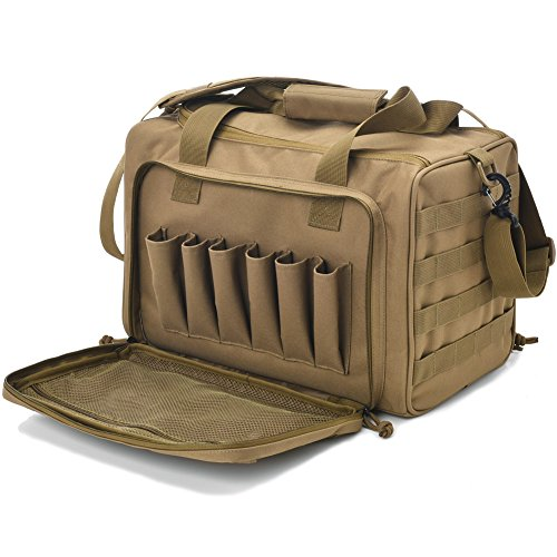 Tactical Gun Shooting Range Bag, Deluxe Pistol Range Duffle Bags Tan
