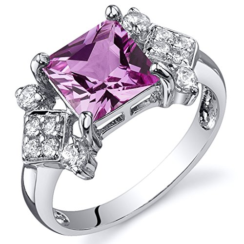Sapphire Pink Princess Ring (Created Pink Sapphire Princess Cut Ring Sterling Silver Rhodium Nickel Finish Size 6)