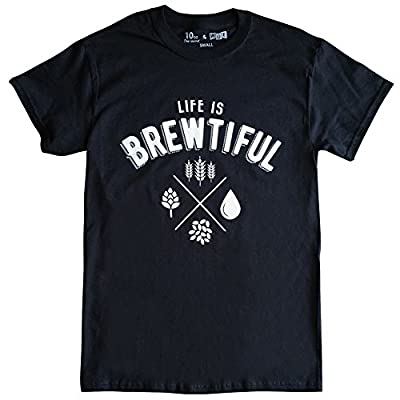 10oz Apparel Men's Life is Brewtiful mens Beer T-shirt