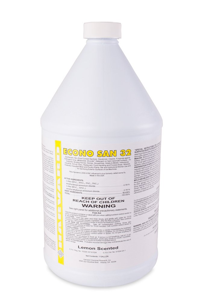 Harvard Chemical 320 Econo San 32 Economy Cleaner and Disinfectant, Lemon Odor, 1 Gallon Bottle, Clear (Case of 4)