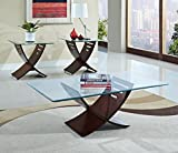 Wood and Glass Coffee Table Sets ACME 80102 3-Piece Elhan Coffee/End Table Set, Cherry Finish