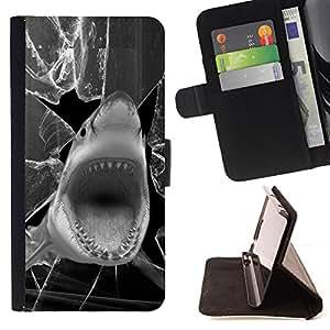 BullDog Case - FOR/Samsung Galaxy S5 Mini, SM-G800 / - / shark funny broken glass black white /- Monedero de cuero de la PU Llevar cubierta de la caja con el ID Credit Card Slots Flip funda de cuer