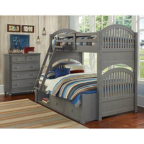 - Hillsdale Kids and Teen Lake House Adrian Stone Finish Twin Over Full Bunk Bed with Storage
