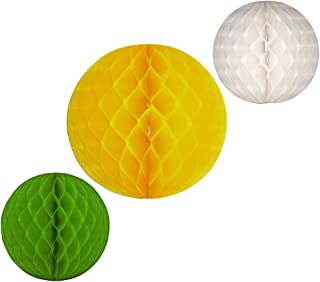 product image for Honeycomb Balls, Set of 3, 12 inch and 8 inches (Spring Fresh - Yellow/White/Lime)