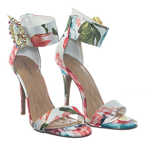 Anne Michelle Satén Colorido Vestido De Tacón Alto Sandalia W Cristal Blanco Hebilla De Diamantes De Imitación