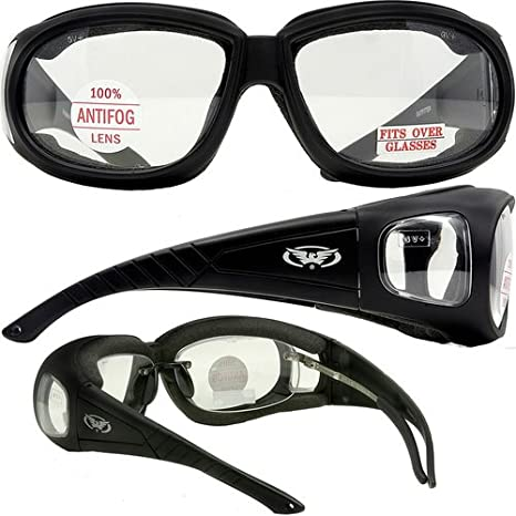 77809235ce Motorcycle Safety Sunglasses Fits Over Prescription Rx Glasses Clear Lenses  Meets ANSI Z87.1 Standards