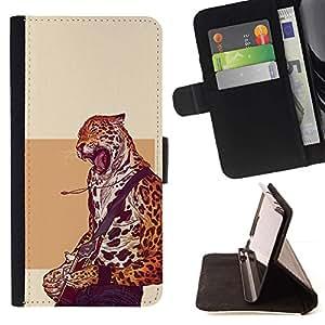 Momo Phone Case / Flip Funda de Cuero Case Cover - Cheetah estrella del rock - Cool Cat - Sony Xperia Z5 5.2 Inch (Not for Z5 Premium 5.5 Inch)
