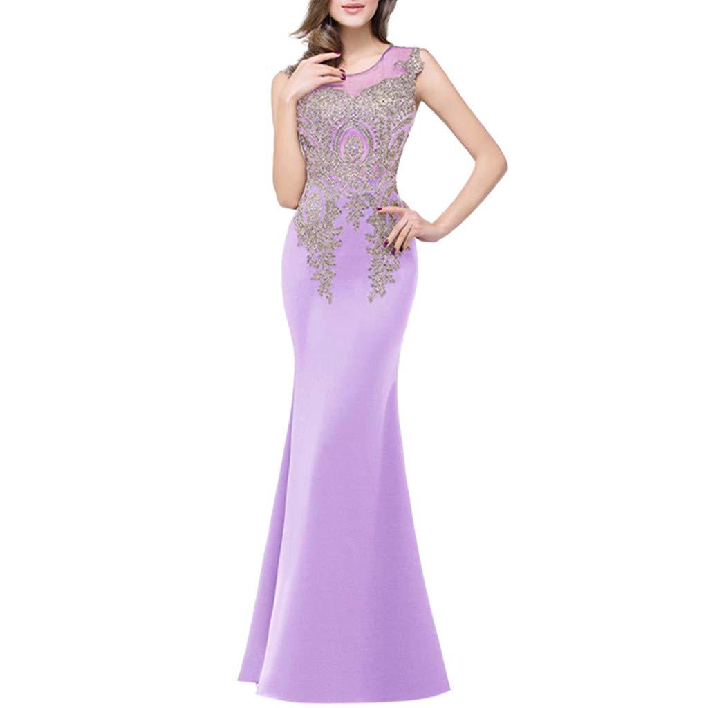 Wedding Maxi Long Dress, Kiasebu Women's Chiffon Sequins Mermaid Evening Dress for Women Bridesmaid Dress Formal (Y - Purple, Small)
