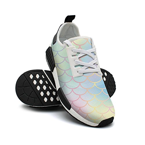 Womens Rainbow Mermaid Scales Sneakers Casual Running Shoes by WhiteUnicorn