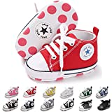 ENERCAKE Baby Boys Girls Canvas Shoes Basic Sneakers Lace Up Infant Newborn First Walker Prewalker Shoes(0-18 Months) (11cm(0-6 Months), A-Red)