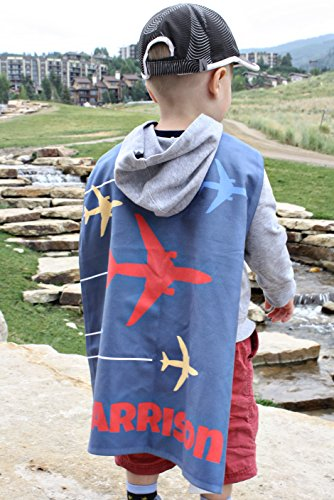 (Kid's Personalized Transportation Capes Microfiber Polyester (Sky of)