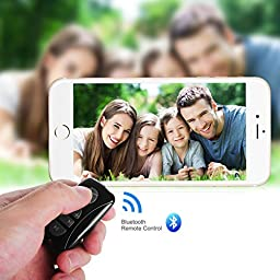 Fintie Bluetooth Wireless Multimedia Remote Music Control Camera Shutter for iOS and Android Smartphones Tablets - Black