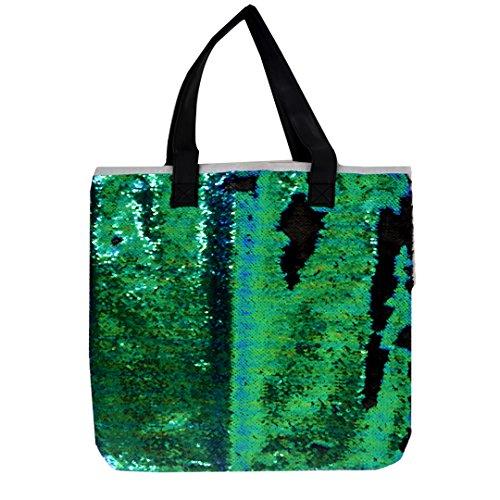 Two Tone Sequins Paillette Glitter Tote Bag Purse Handbag Shoulder Bag Green - Sunglasses Totes