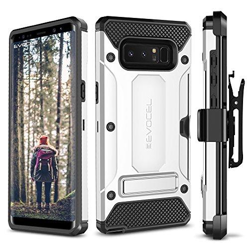 Evocel EVO-SAMNOTE8-CK06 Galaxy Note 8 Case, Explorer Series Pro, Premium Case with Metal Kickstand, Credit Card Slot, Belt Clip Holster - Silver