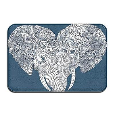 """Jianyue Indian Yoga Elephants Door Mat Entrance Mat Indoor Outdoor Entry Garage Patio Shoe Rugs Front Door Bathroom Mats Rubber Non Slip (31.4""""x20"""",L X W)"""