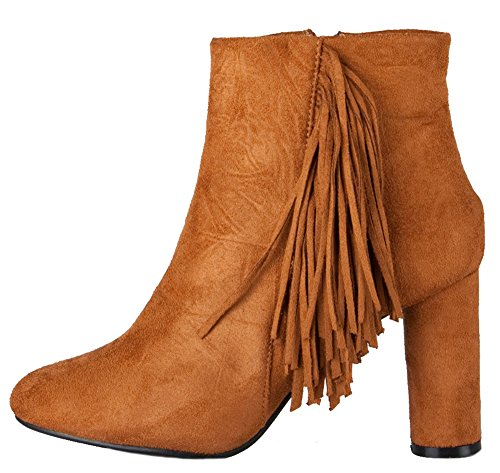Pop Womens Ladies Cuban Western MID HIGH Heel Booties Heeled Block Cowboy Winter Ankle Boots Size 3-8 Style O - Tan