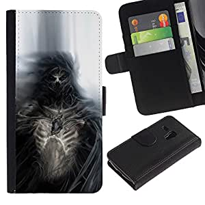 LECELL--Cuero de la tarjeta la carpeta del tirón Smartphone Slots Protección Holder For Samsung Galaxy S3 MINI 8190 -- Gothic Skull Skeleton Diablo Demonio --