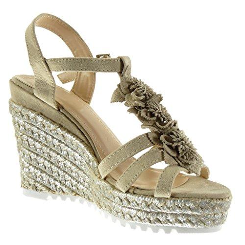 Brillant Angkorly 5 Beige Mode Talon Fleurs 11 cm Sandale Chaussure Femme Cheville Lanière Compensé Mule Plateforme Corde Plateforme vqTvSUxrpw