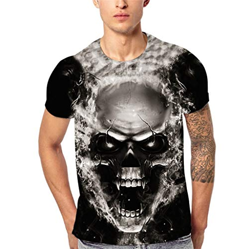 Letdown_Men tops Men Tshirts Graphic Funny Short Sleeve 3D Summer Casual T-Shirt Skull Printing Sport Breathable Top Blouse Black - 3 120's Button Suit Wool