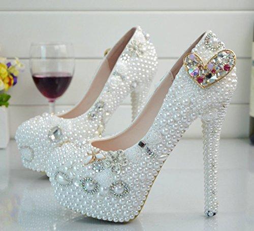 14cm Stiletto Color Pumps Diamond Shiny Women's Heel White Wedding TDA q0xwp74qf