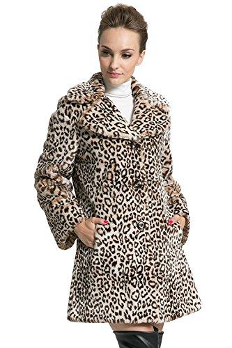 de Para con Piel Mujer Leopardo de Abrigo Ovonzo Marrón Estampado Sintética Chaqueta xpqnZ1xw40
