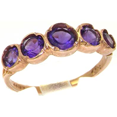 Solid English Rose 9ct Gold Womens Amethyst Eternity Band Ring FJUdA