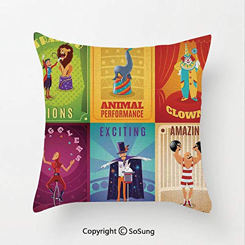 (Circus Decor Linen Throw Pillow Cushion,Circus Characters with Trained Animals The Strong Man Trapeze Artist Retro Show Design,17.7x17.7Inches,for Sofa Bedroom Car & Home Decorate Multi)