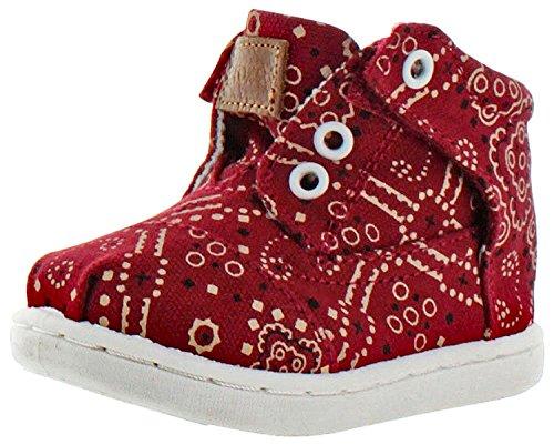 TOMS Girl's Botas Tiny Toddler Bandana Chukka Shoes Red Size 9