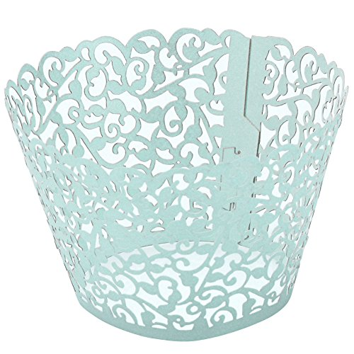 Top Plaza 100pcs Flower Vine Filigree Lace Cutout Cupcake Wrappers Wraps Liners Wedding Party Cake Decoartion (Blue)