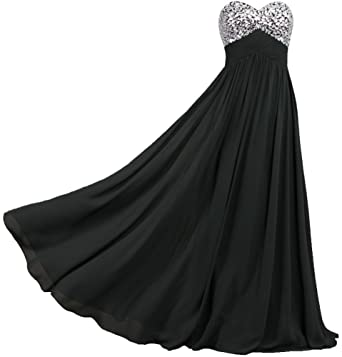 ANTS Formal Crystal Chiffon Prom Dresses Long Evening Gowns Size 2 US Black