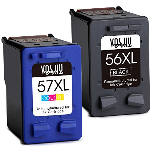 Voshy Remanufactured HP 56 57 Ink Cartridges, High Yield Replacement for HP Deskjet F4180 5150 5550 5650 Officejet 6500 4215 6000 7000 Photosmart 7150 7960 PSC 2175 1315 1210-1 Black, 1 Tri-Color (6500 Inkjet)