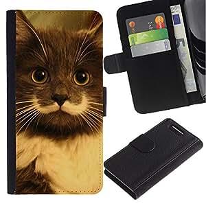 Hamilton Hipster Cat Moustache Longhair - la tarjeta de Crédito Slots PU Funda de cuero Monedero caso cubierta de piel Sony Xperia Z1 Compact D5503