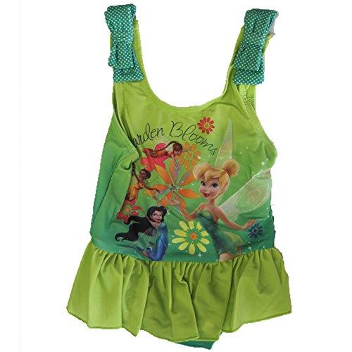 Disney Little Girls Green Tinker Bell Print Ruffle One Pc Swimsuit 2 (Tinkerbell Bathing Suit)