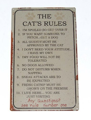 - Cat Rules Tin Sign 10 x 16in