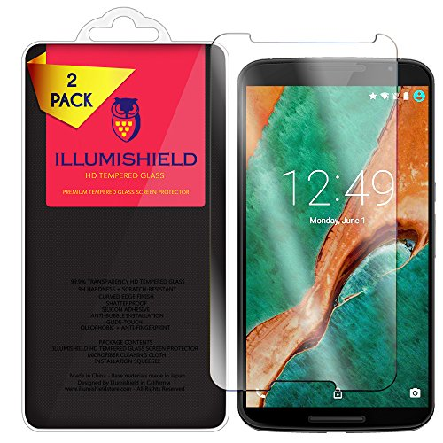 Google Nexus 6 Screen Protector [2-Pack], iLLumiShield HD Clear Tempered Ballistic Glass Screen Protector for Google Nexus 6 (Motorola Nexus 6) 9H Hardness Anti-Bubble Shield