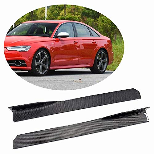 (MCARCAR KIT Universal Door Side Skirts fits Audi A1 A3 A4 S4 A5 S5 A6 S6 A7 S7 TT TTRS R8 Q3 Q5 Q7 Carbon Fiber Car Exterior Extension Rocker Pannel Apron Protector 45.28Inches)