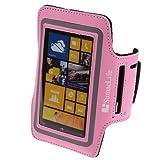 SumacLife Workout Running Armband for Nokia Lumia 1020 Nokia Lumia 920 Nokia Lumia 925 (AT&T ; Sprint ; T-Mobile) (Pink-Neoprene)