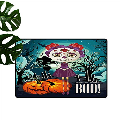 Anzhutwelve Halloween,Mats Cartoon Girl with Sugar Skull Makeup Retro Seasonal Artwork Swirled Trees Boo Personalized Door mat W 16