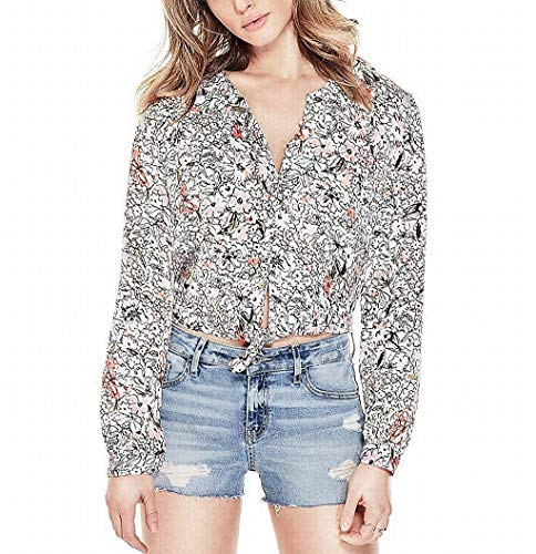 GUESS Womens Simona Satin Printed Button-Down Top White S (Guess Sonnenbrille Rosa)