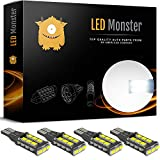 LED Monster 4-Pack White 15SMD LED Bulbs High Power RV Light Exterior Light License Tail Parking Side Maker Fog DRL Driving Light Lamp Error-Free Canbus (4)