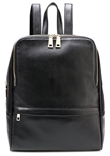 TINGLAN Genuine Leather Backpack for Women Fashion Girls Bag (Black)