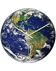 ساعة حائط من BESPortBLE كتم على شكل الأرض من الأكريليك ساعة حائط مضيئة بأرقام عربية ساعة معلقة لغرفة المعيشة والمنزل والفندق (أمريكا الجنوبية بدون بطارية)